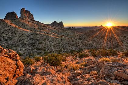 Castle Peaks Sunrise Mojave National Pre