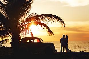 Wedding sunny couple in Cuba near the se