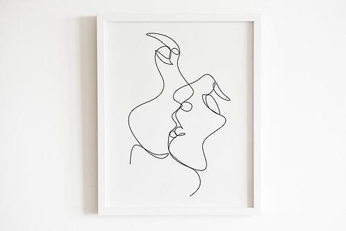 Line Drawn Kissing Print