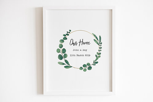 Personalised Our Home Leaf Circle Print
