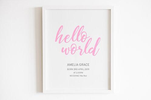 Personalised Pink Hello World Print