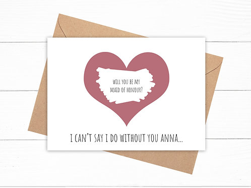 Personalised Will You Be My Maid Of Honour? Scratch Card