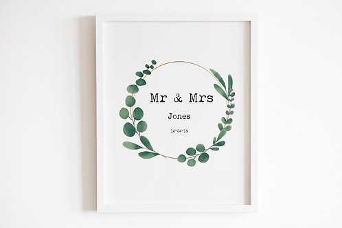 Personalised Mr & Mrs Leaf Circle Print