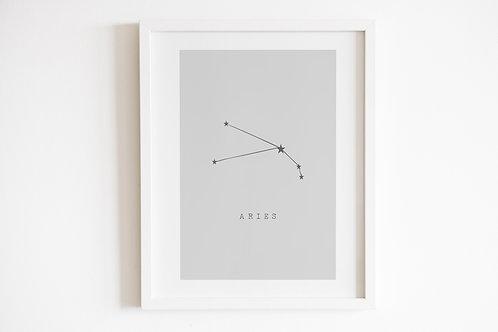 Grey Aries Zodiac Constellation Print