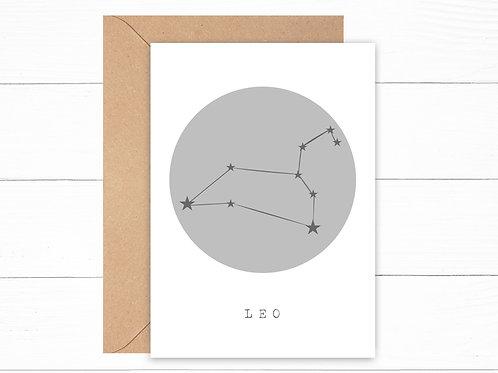 Grey Leo Zodiac Constellation Card