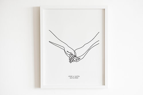 Personalised Line Drawn Holding Hands Print