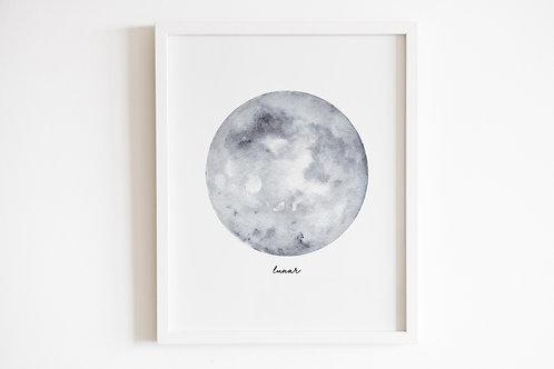 Grey Lunar Moon Print