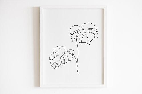 Line Drawn Monstera Leaves Print