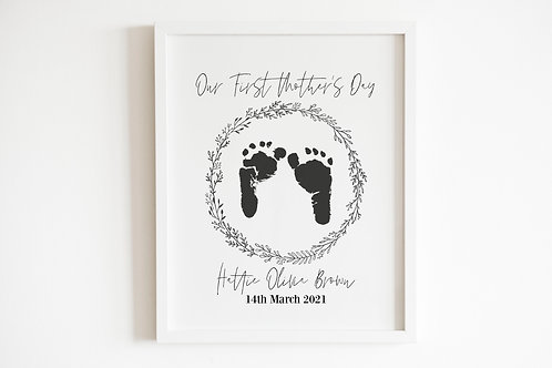 Our First Mother's Day Personalised Inkless Footprints