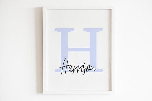Personalised Blue Initial & Name Print