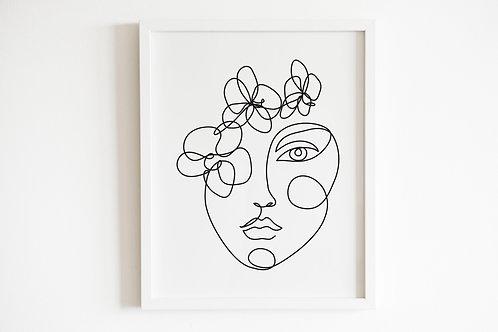 Line Drawn Floral Face Print