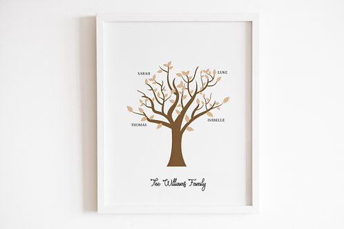 Personalised Neutral Family Tree Print