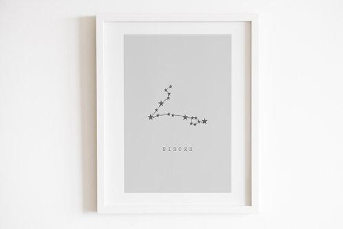 Grey Pisces Zodiac Constellation Print