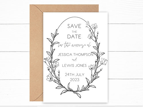 Personalised Floral Frame Save The Date Cards
