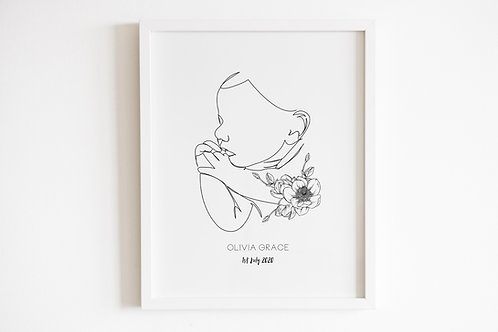 Personalised Line Drawn Baby Silhouette Print
