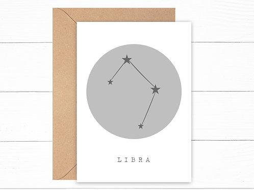 Grey Libra Zodiac Constellation Card