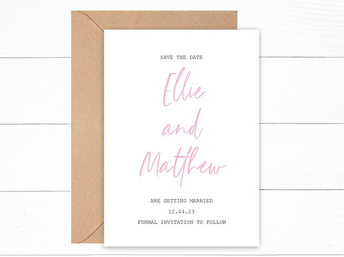Personalised Minimal Pink Save the Date Cards
