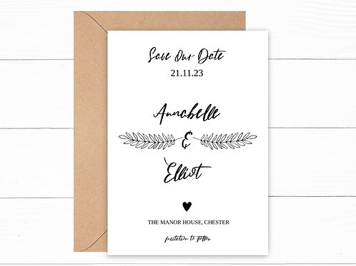 Personalised Leaf Detail Save The Date Cards