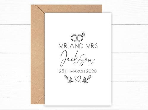 Personalised Mr & Mrs Rings Card