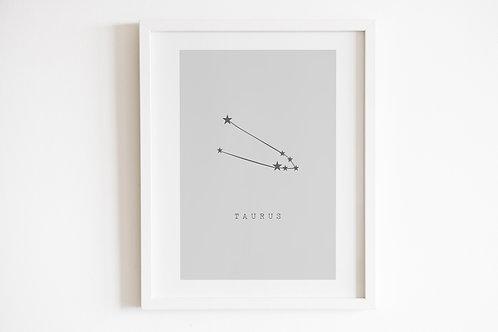 Grey Taurus Zodiac Constellation Print