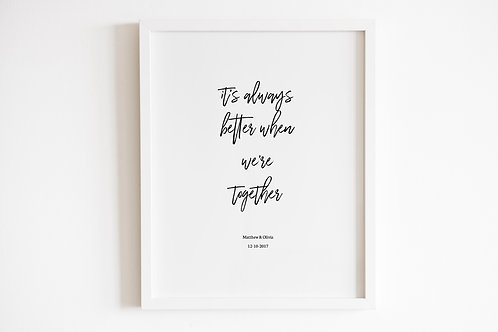 Personalised Better Together Print