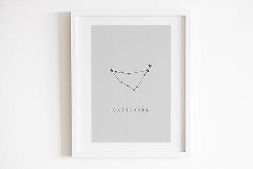 Grey Capricorn Zodiac Constellation Print