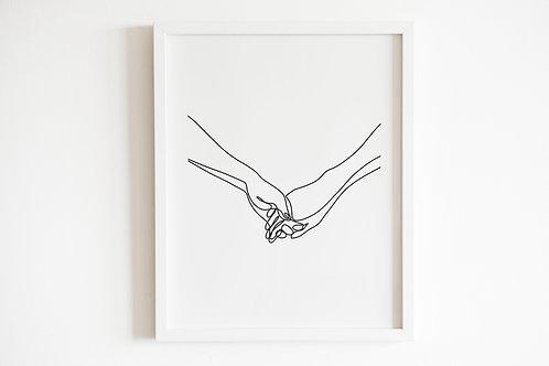 Line Drawn Holding Hands Print