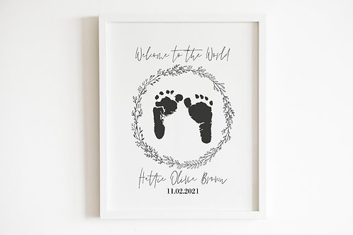 Personalised Inkless Footprints - Welcome To The World