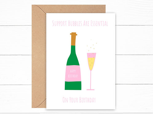 Birthday Support Bubbles Card