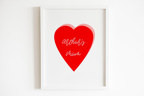 Personalised Heart Mother's Day Print
