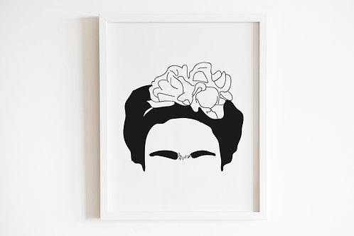 Line Drawn Frida Kahlo Print