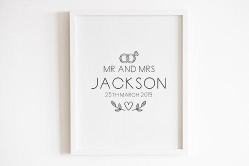 Personalised Mr & Mrs Rings Print