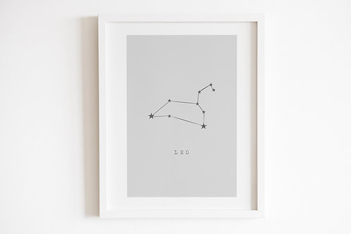 Grey Leo Zodiac Constellation Print