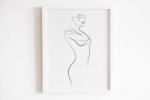 Line Drawn Female Body Silhouette Print