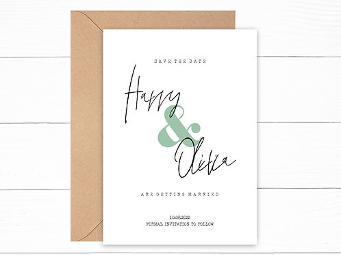 Personalised Green Save the Date Cards