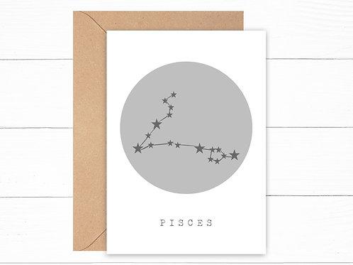 Grey Pisces Zodiac Constellation Card