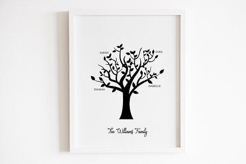 Personalised Black Family Tree Print