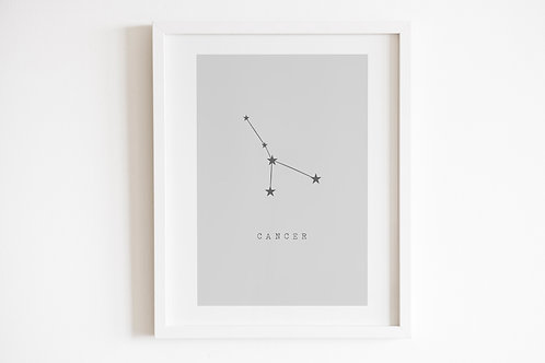 Grey Cancer Zodiac Constellation Print