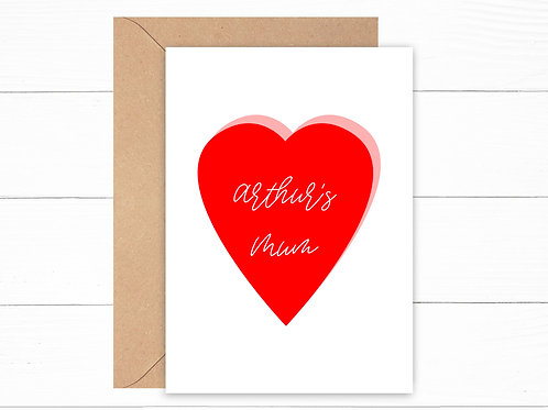 Personalised Heart Mother's Day Card