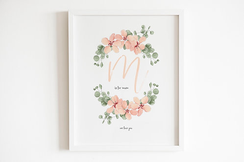 Personalised Floral Initial & Name Or Text Print