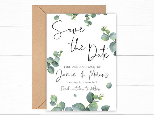 Personalised Eucalyptus Save the Date Cards