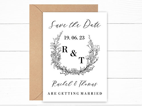 Personalised Floral Wreath Save The Date Cards