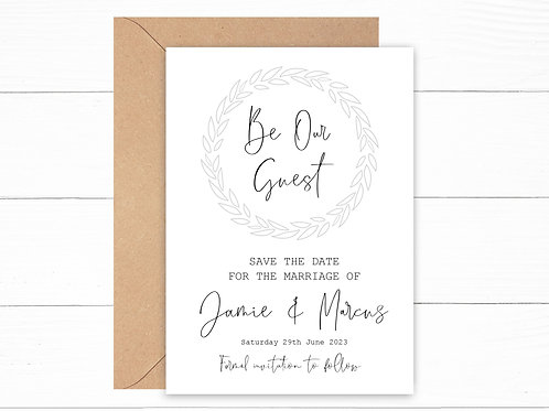 Personalised Grey Be Our Guest Save the Date Cards