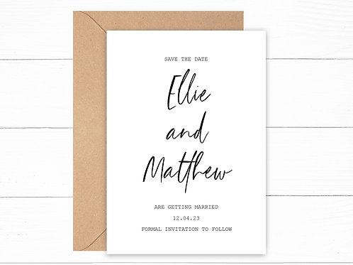 Personalised Minimal Save the Date Cards