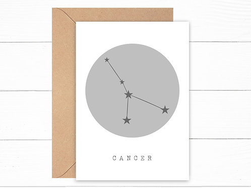 Grey Cancer Zodiac Constellation Card