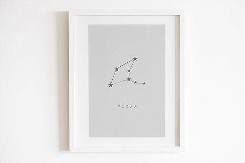 Grey Virgo Zodiac Constellation Print