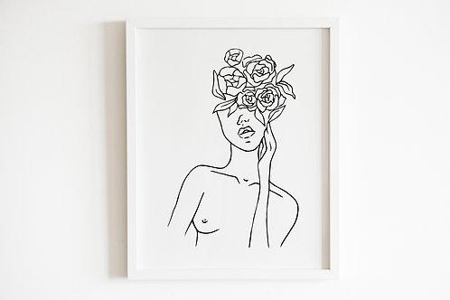 Line Drawn Floral Female Print