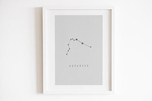 Grey Aquarius Zodiac Constellation Print