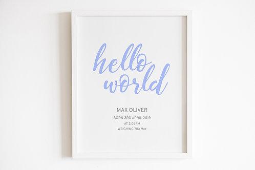 Personalised Blue Hello World Print