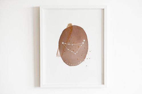 Gold Zodiac Constellation Print - Capricorn